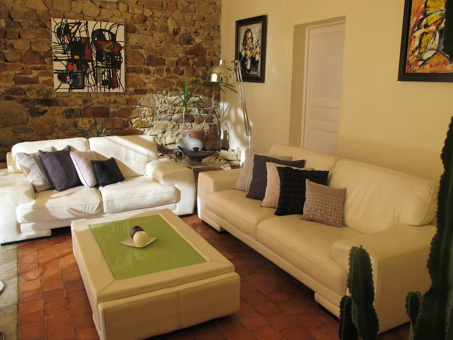 Large air-conditioned modern lounge area seating comfortably 8 people and views on the jacuzzi and garden