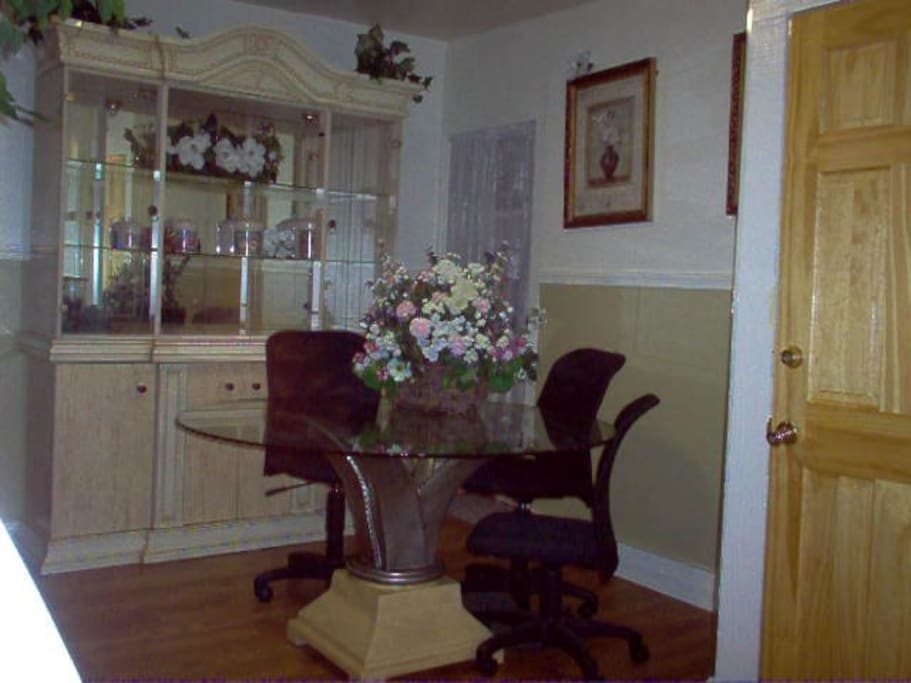 Dining room table and china cabinet.
