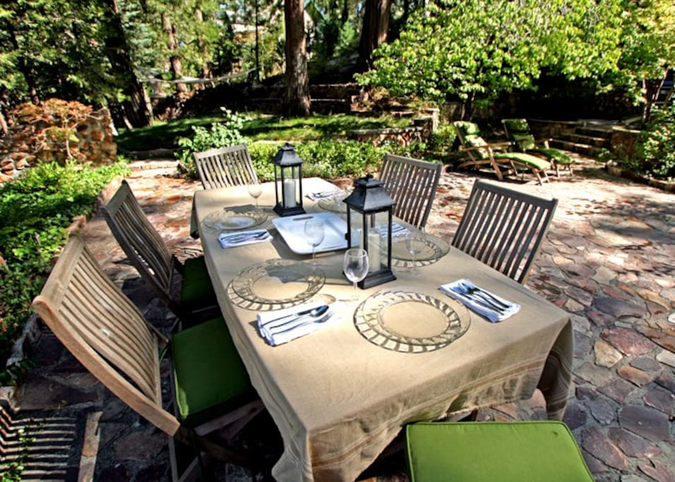 Dine on the patio in the shade of the cedar trees and enjoy the fresh mountain air.