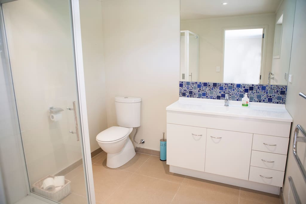 Exclusive downstairs private modern bathroom.