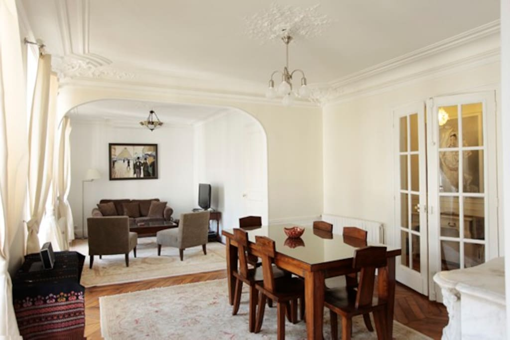 The dining table can comfortably accommodate six people if you should have guests visiting you.