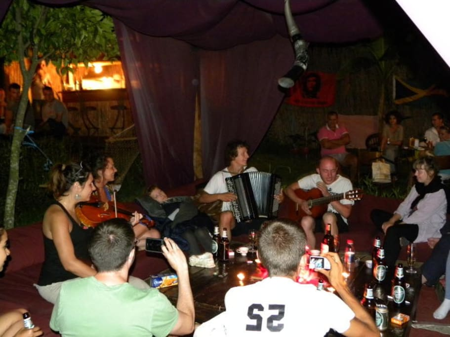 Jamming in the gazebo with guests
