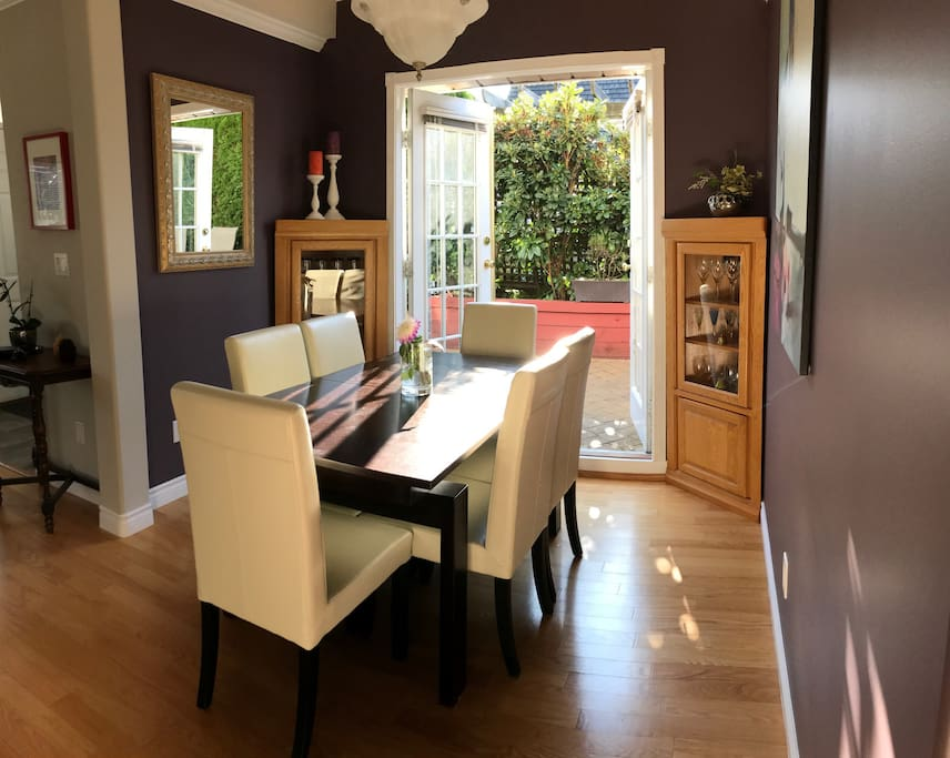 Dining room with french doors to outside private patio.