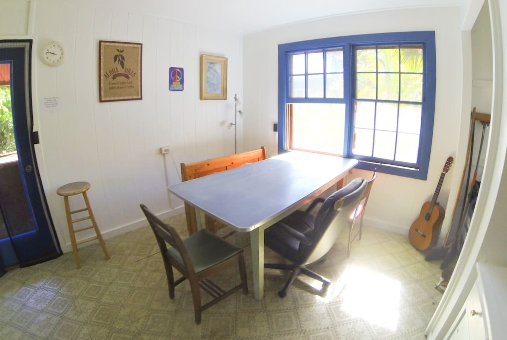 Full Shared Kitchen Dining Table Seats 6-8 people.