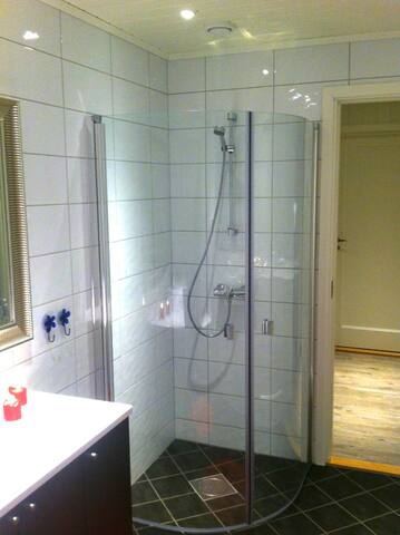 Comfortable shower in a beautiful bathroom with toilet, towels, rolls of toilet paper and a hairdryer.