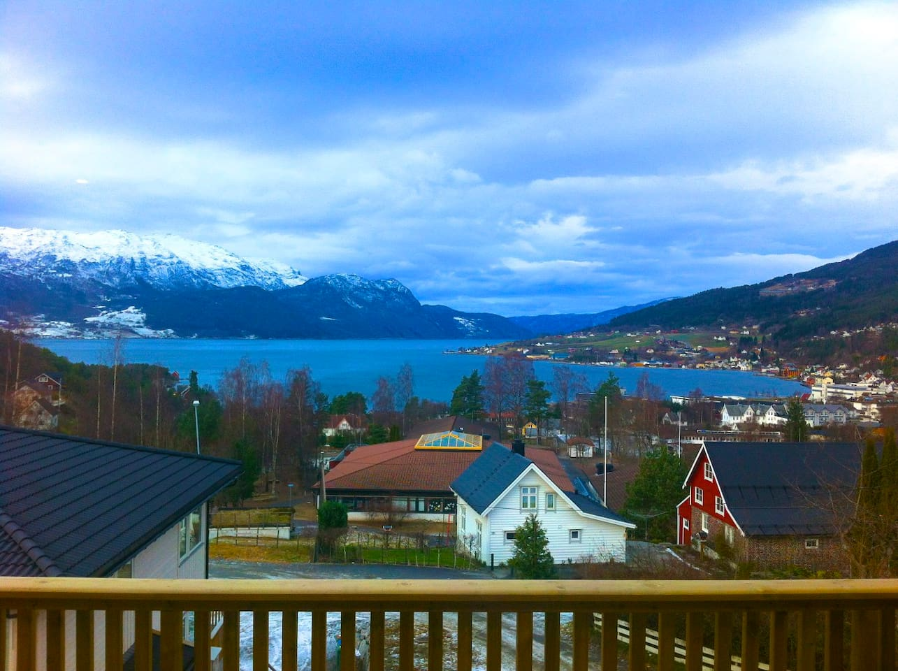 Beautiful view over the typical Norwegian fjord. This picture is taken from the apartments porch.