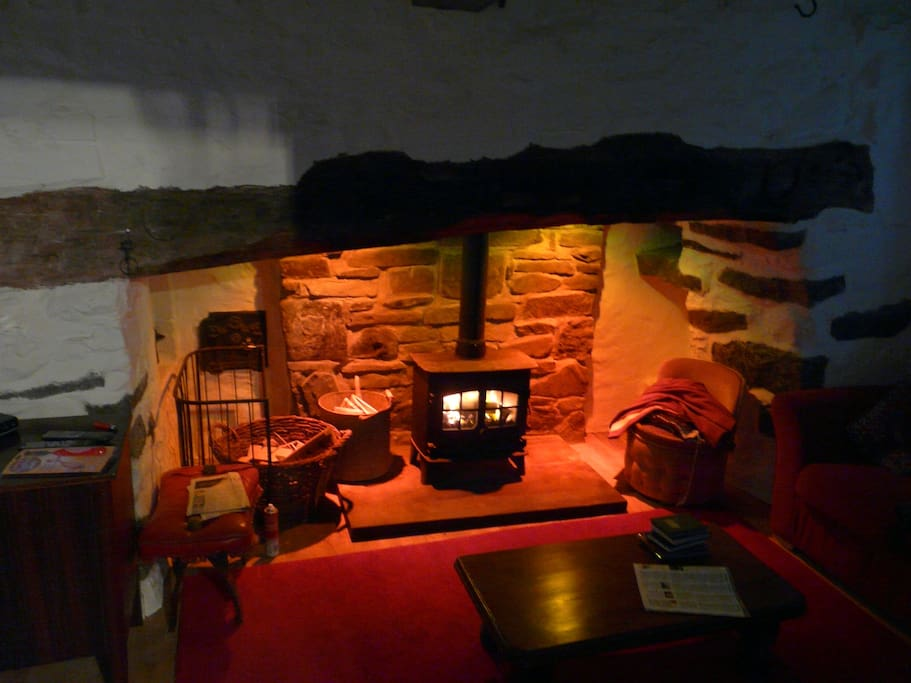 A cosy woodburner in the lounge.