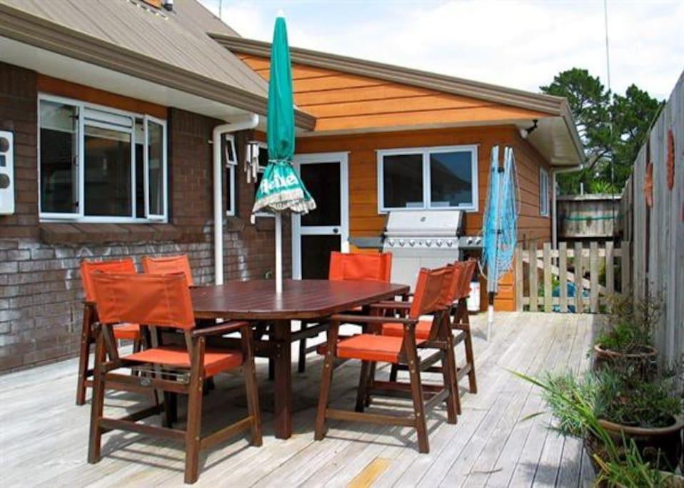 Outdoor deck area.