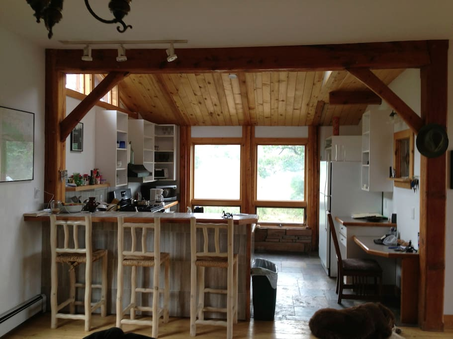 Kitchen (before remodel) with skylights and slate heated floor.