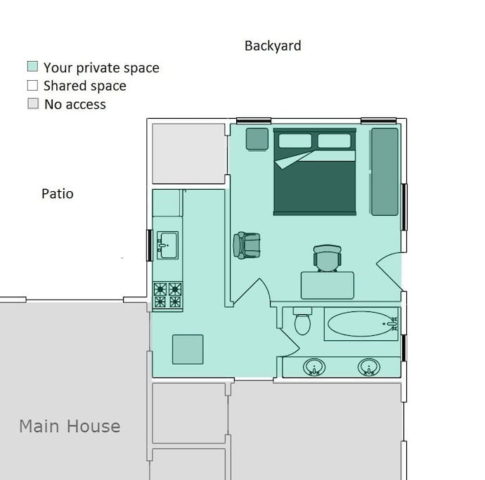 Guesthouse layout, all space in green is your private area. You are also welcome to enjoy the patio or explore the backyard and try any of the fruit in season
