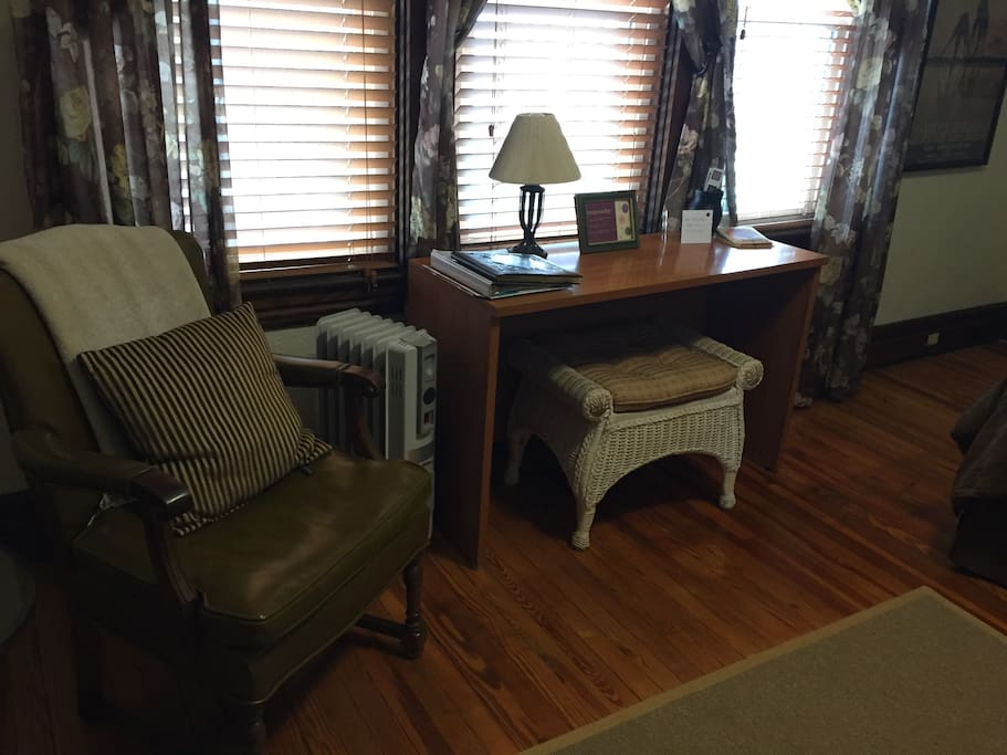 Desk & Sitting Area with Leather chair and ottoman