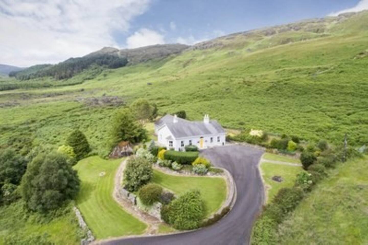 Aerial view of our house and gardens. The wild and beautiful Cooley mountains are in the background.