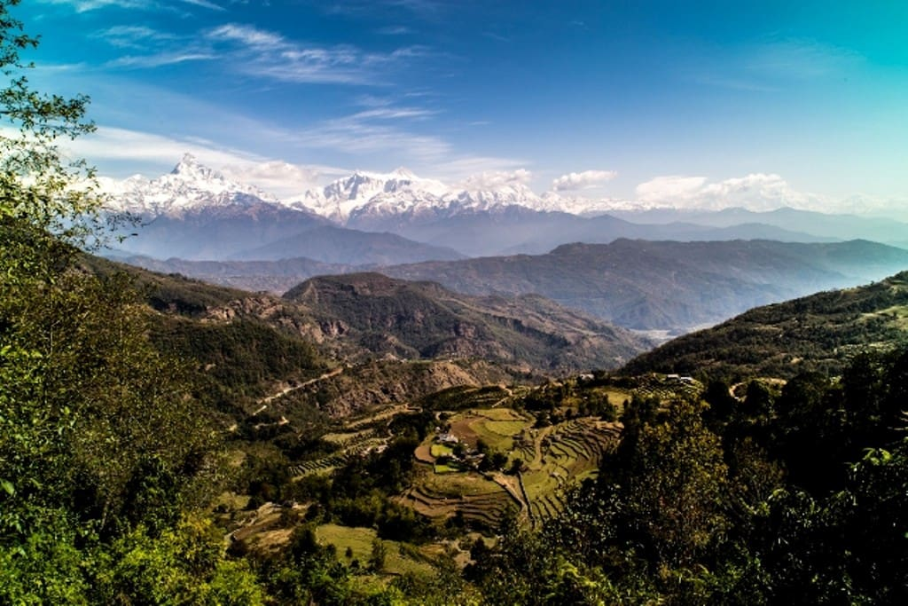 Good morning view from the Himalayan mountain range