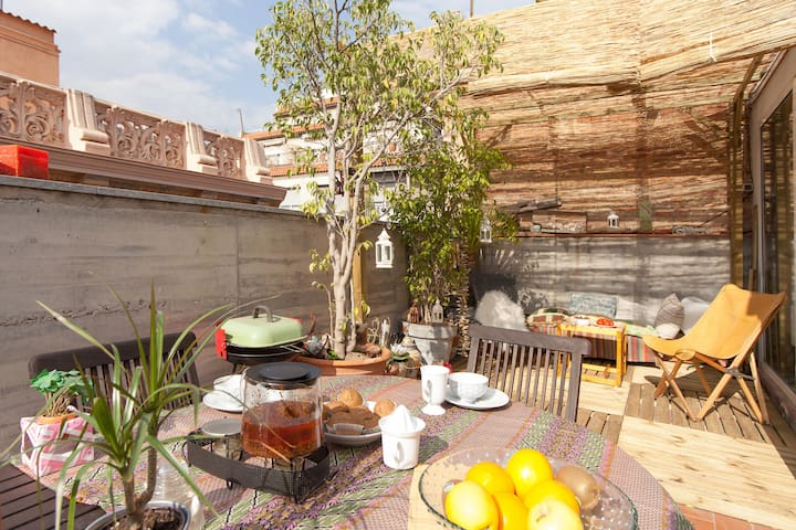 SUNNY TERRACE  Flat in Gracia/wifi - Barcelona - Apartment