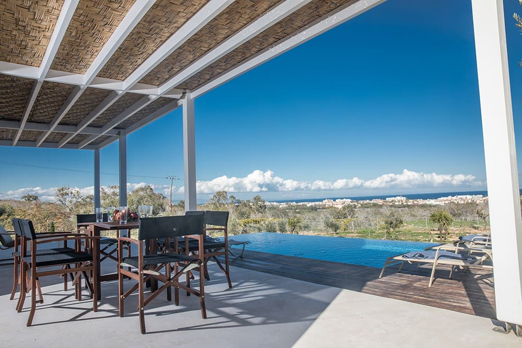 Shaded outside dining area overlooking the sea views