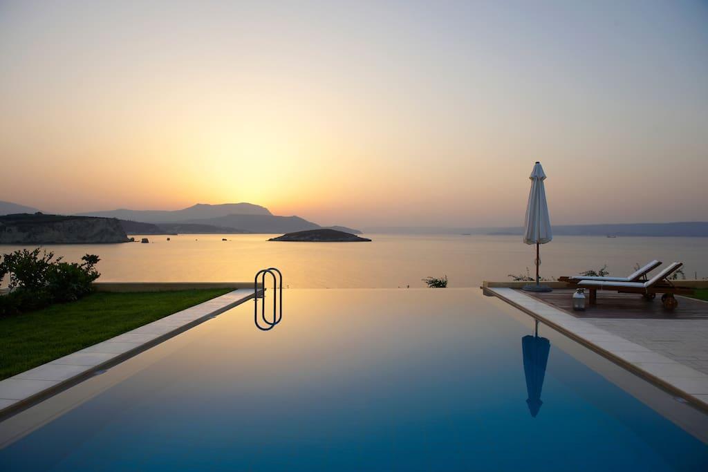 Anemos villa infinity pool amazing sunsets