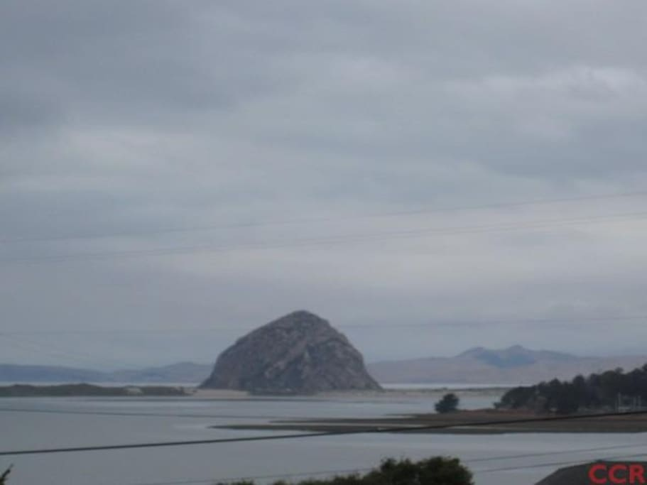 Morro Rock view from upstairs, where your are welcome in the morning for your self-serve coffee and toast.