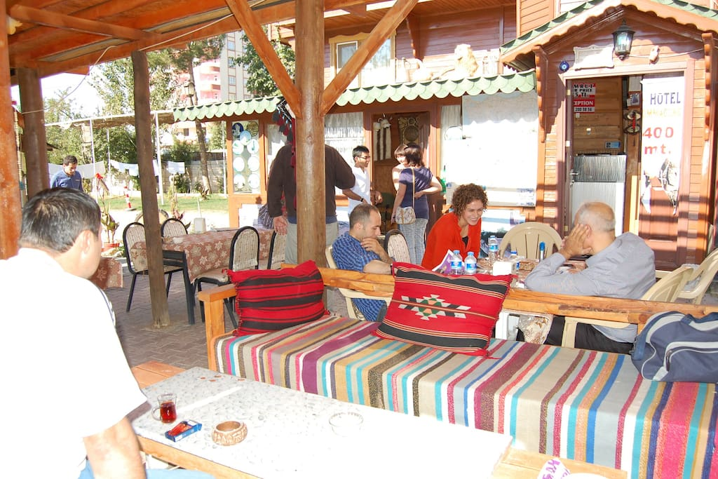 Guests enjoying the outdoor, open terrace.