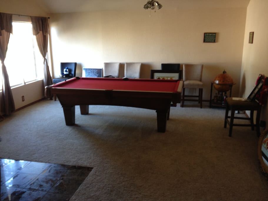 big game room and pool table