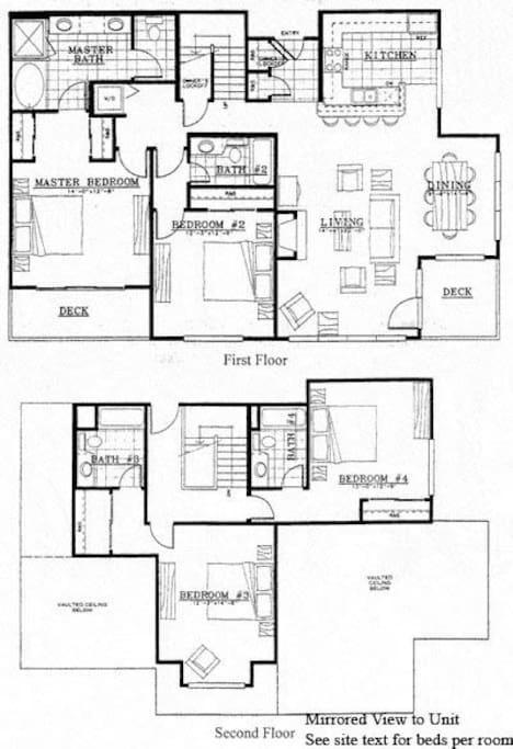 The floor plan for the 4br 4ba two floors.  2200 sq ft.
