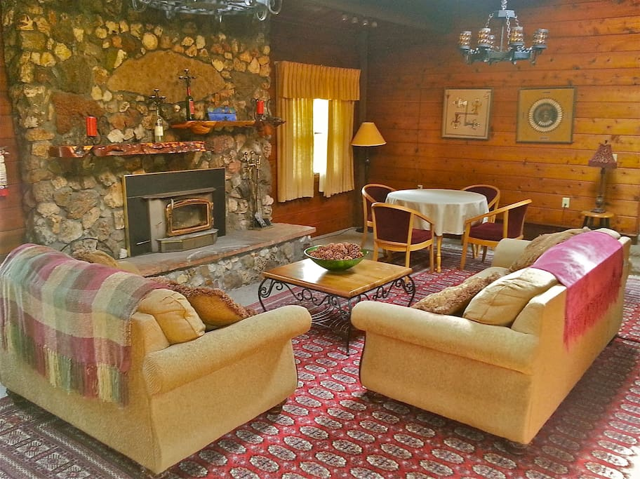 A roaring fire in the expansive stone hearth is welcomed year round.