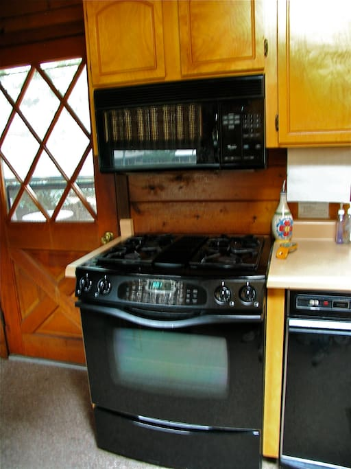Cooks will enjoy the high-end dual fuel range.