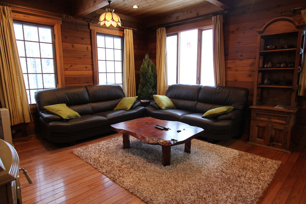 Lounge area with wood stove.