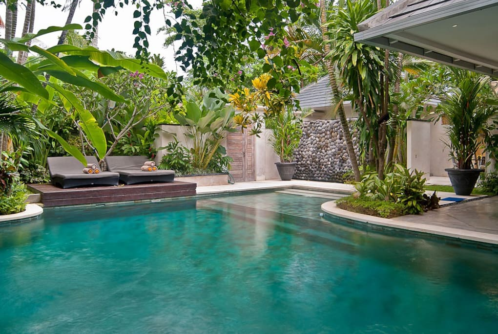 pool view to garden