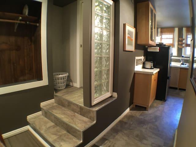 Plenty of  closet space. Full size ironing board.