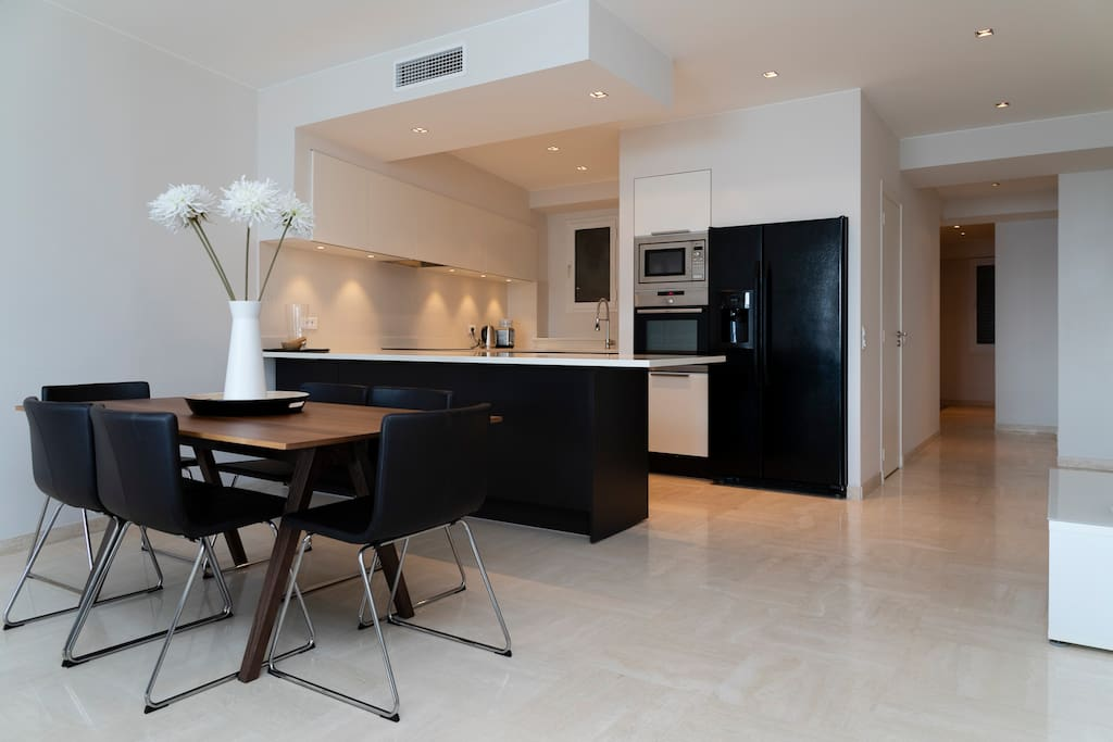 Large kitchen with dining table