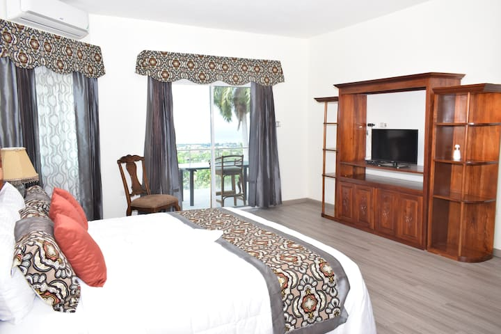 This picture shows King suite #3 with private walkout balcony overlooking saltwater pool with an amazing view of the ocean