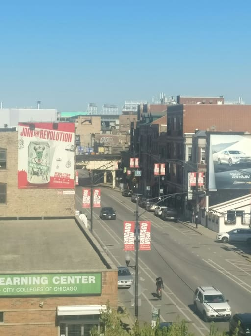 View of Clark street from the window. You can see Wrigley Field down the street!