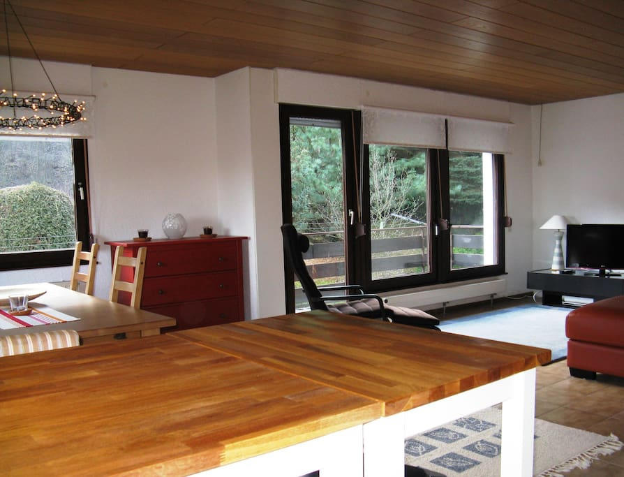 Open plan living and dining room all with beautiful views