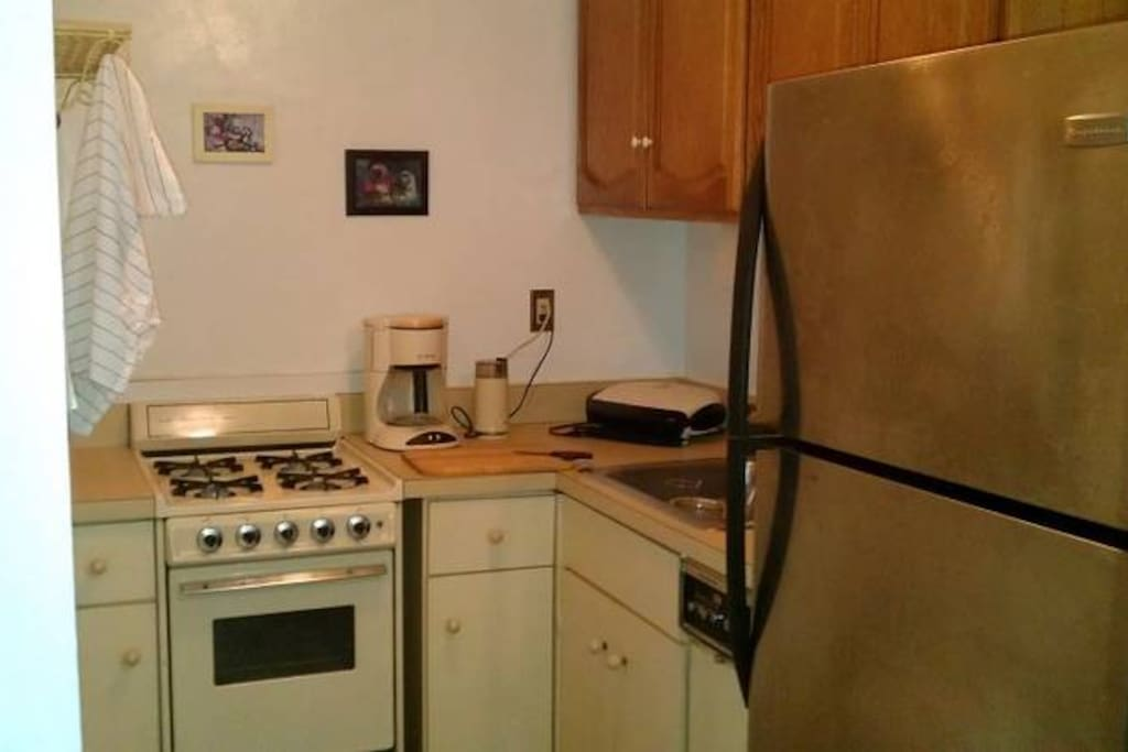Kitchen stove, dishwasher.and refrigerator.
