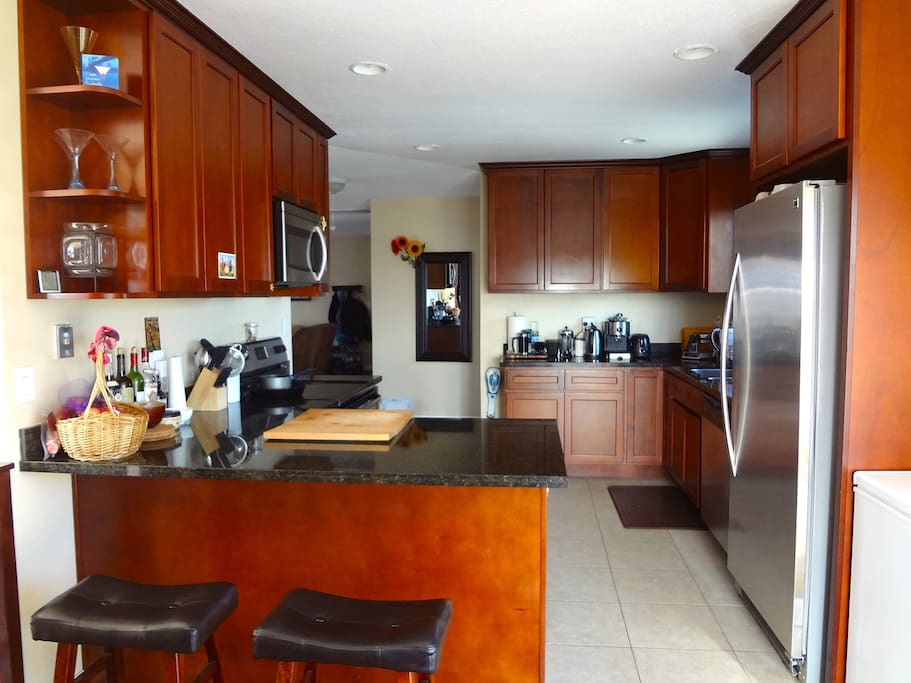 Our newly remodeled kitchen. Help yourself to our Espresso machine, and waffle maker
