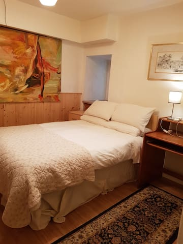 Double bedroom.  1 double bed, 1 single bed,  Suitable for 2 -3 Sharing.