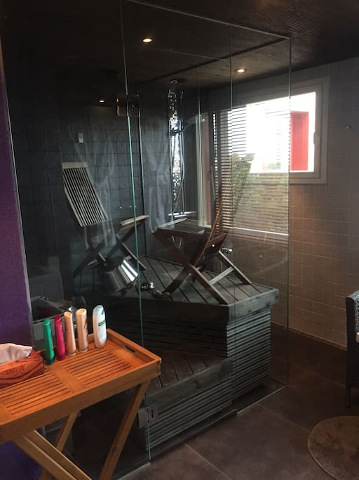 Private bathroom with sauna and separate shower & bathtub for guests.