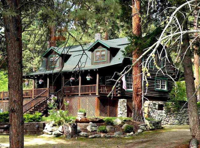 Montana Log Home Living in a park-like setting.