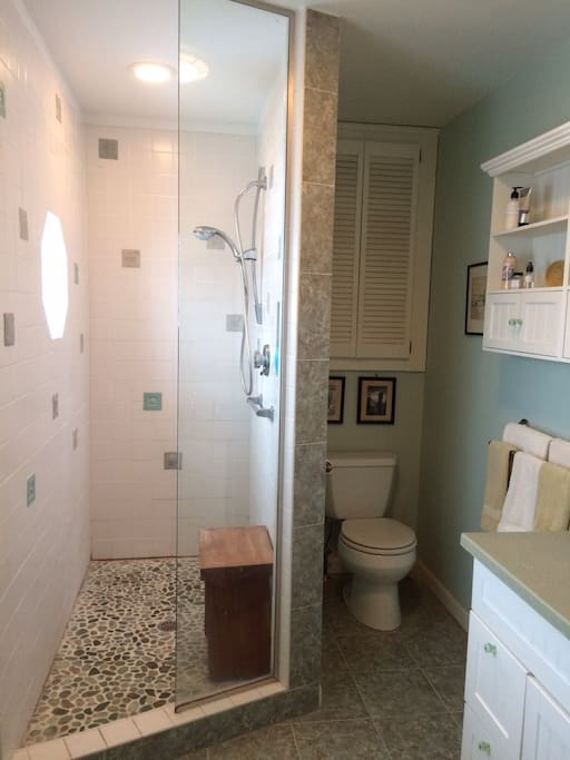 Spacious shower in bath with lots of natural light