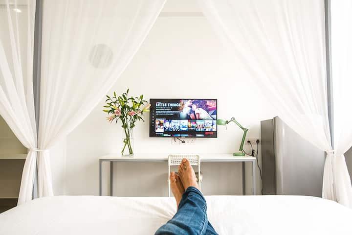 All White Parisian feel Bedroom/Studio