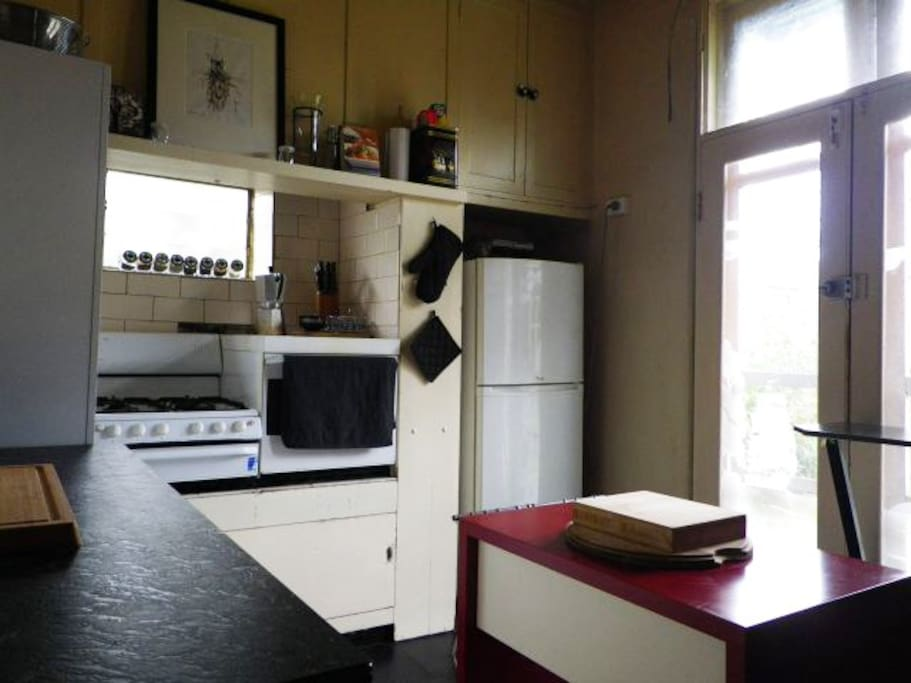 Our kitchen. Gas cooking facilities and a moveable island bench.