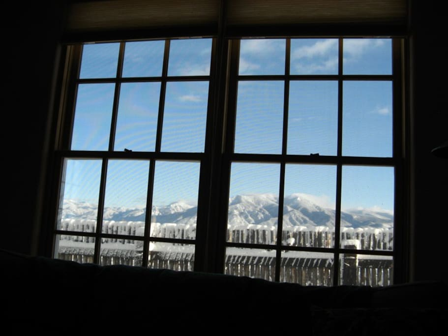 Taos Mountain view from living room