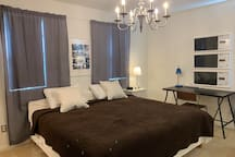 King bed with bathroom in the Victorville