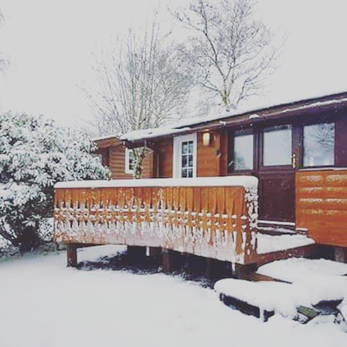 Cabin entrance in Winter
