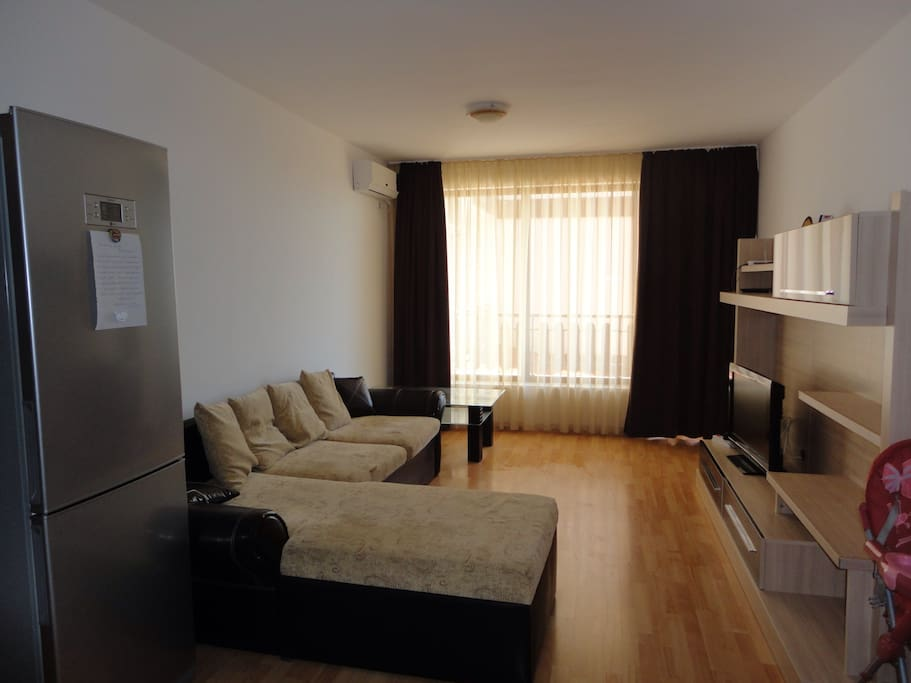 Living room with a large sofa bed