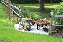 This is at the top of the driveway as you turn in.  Go past first house to end of driveway to Peace Haven.