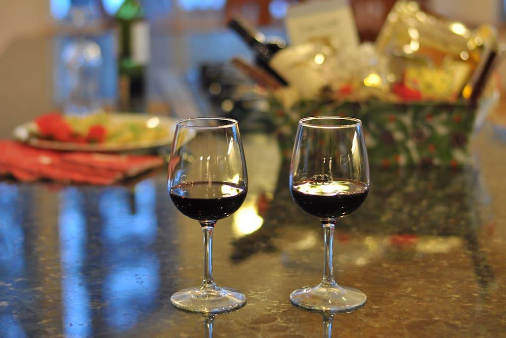 Enjoying a nice glass of wine and some snacks