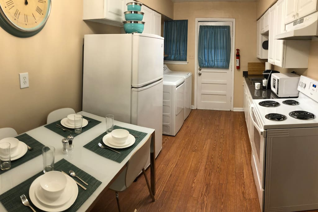 Fully equipped kitchen so you can prepare your own meals if you like. A washer/dryer and detergent are available for your use.
