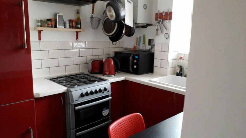 Our kitchen has a big fridge freezer, a cooker, microwave and kettle & toaster for you to use.. and a washing machine to keep you clean :)