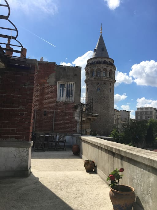 Galata Tower view from terrace. It is a-stone-throw from the apartment.